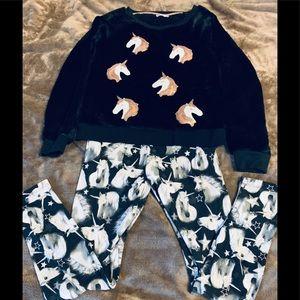 Unicorn Velour top & Unicorn leggings